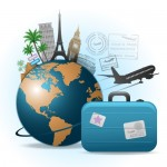 земной шар и чемодан