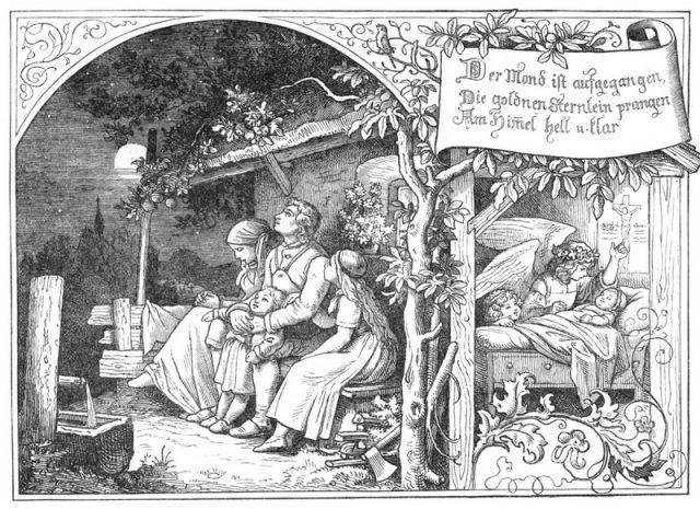 """""""Луна взошла"""", иллюстрация Людвига Рихтера (1856)"""