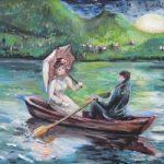 двое в лодке на озере