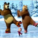 Медведь, медведица и Маша танцуют на льду