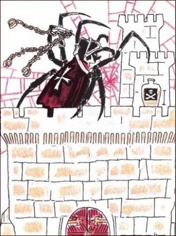 паук - иллюстрация к стихотворению Мориса Карема про паука