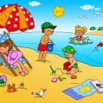 рисунок - дети на пляже