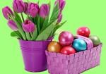тюльпаны и пасхальные яйца