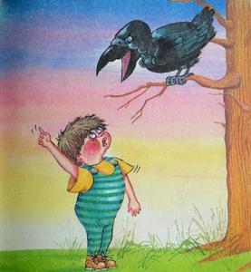 рисунок мальчик и ворон