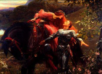 Красивая девушка на коне и рыцарь