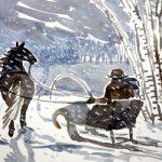 Сани запряженные лошадью у зимнего леса