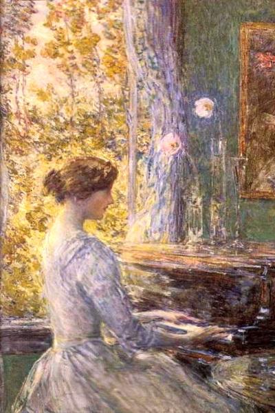 картина девушка за роялем