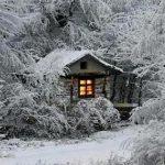 зима снег домик