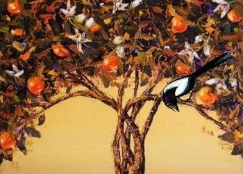 апельсиновое дерево и сорока
