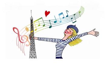 Девушка + Эйфелева башня + ноты