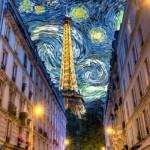 Огни Париж.Улочка Парижа в стиле картин Гогена.