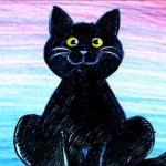 черный кот рисунок