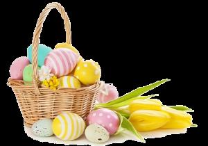 пасхальные яйца и тюльпаны