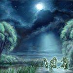 ночь, пруд, русалки
