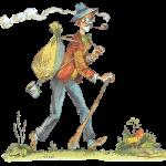 человек с дубиной и мешком
