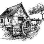 водяная мельница рисунок