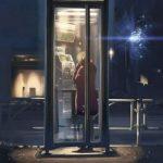девушка в телефонной будке