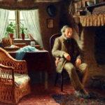 Человек, сидящий у камина