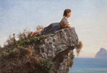 Девушка на скале в Сорренто - всемирно известного итальянского художника Филиппо Палицци